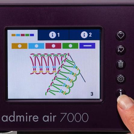 Podgląd wybranego ściegu na ekranie dotykowym nowoczesnej maszyny do szycia.